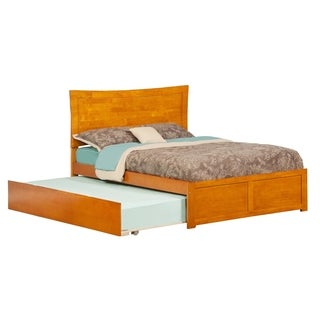 Metro Caramel Latte Full Flat Panel Foot Board Bed with Urban Trundle