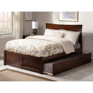 Metro Full Platform Bed with Flat Panel Foot Board and Twin Size Urban Trundle Bed in Walnut