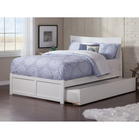 Metro Full Platform Bed with Flat Panel Foot Board and Twin Size Urban Trundle Bed in White