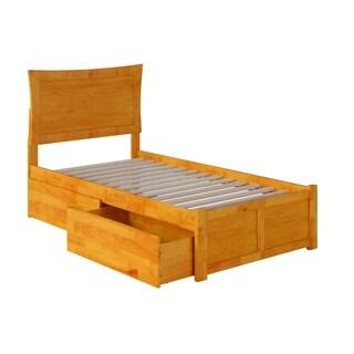 Atlantic Metro Caramel Latte Twin-size Flat-panel Footboard Platform Bed with 2 Urban Bed Drawers