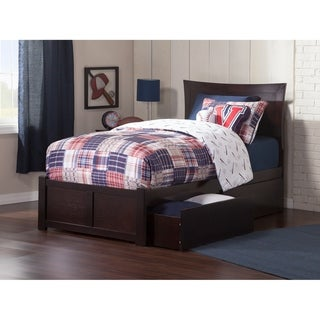 Metro Twin Platform Bed with Flat Panel Foot Board and 2 Urban Bed Drawers in Espresso