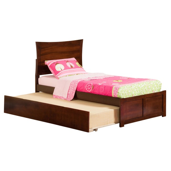 Metro Walnut Flat Panel Foot Board Twin Bed with Urban Trundle