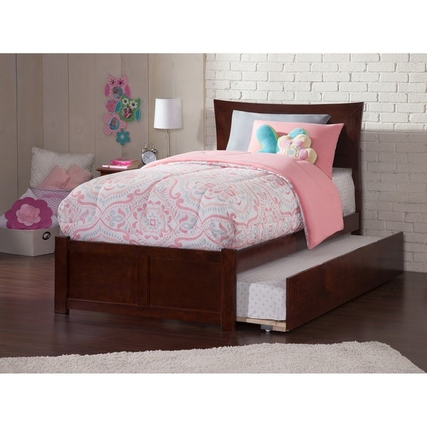 Metro Twin Platform Bed with Flat Panel Foot Board and Twin Size Urban Trundle Bed in Walnut