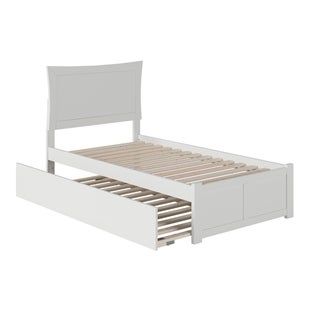 Metro Twin Platform Bed with Flat Panel Foot Board and Twin Size Urban Trundle Bed in White