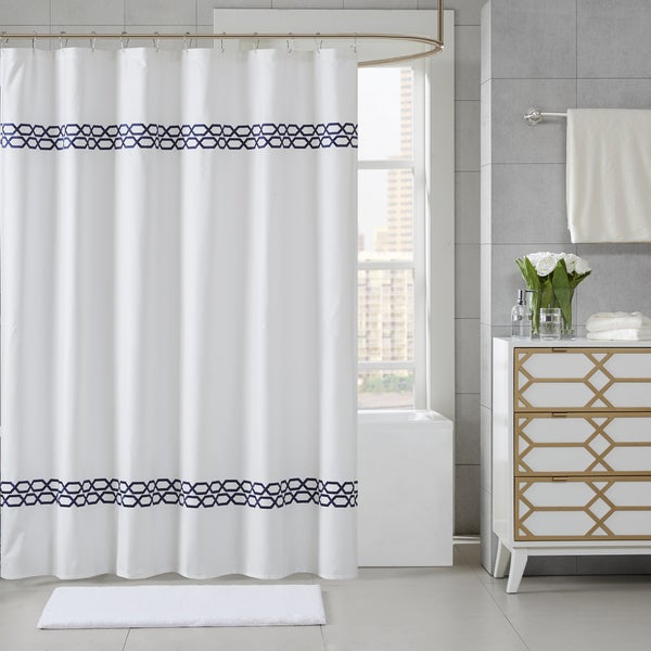 Madison Park Signature Copula Embroidered Shower Curtain 5-Color Option