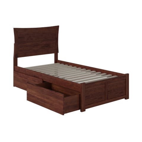 Metro Twin XL Platform Bed with Flat Panel Foot Board and 2 Urban Bed Drawers in Walnut