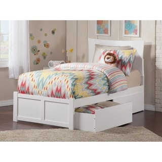 Metro Twin XL Platform Bed with Flat Panel Foot Board and 2 Urban Bed Drawers in White