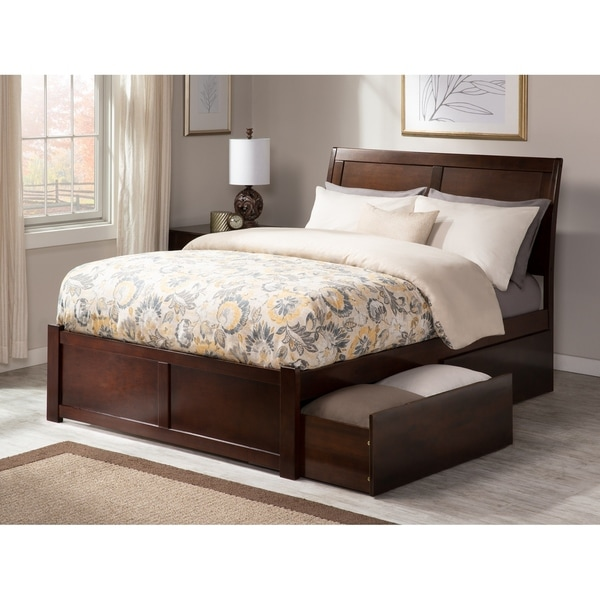 Portland Full Platform Bed with Flat Panel Foot Board and 2 Urban Bed Drawers in Walnut