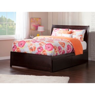 Portland Full Platform Bed with Flat Panel Foot Board and 2 Urban Bed Drawers in Espresso
