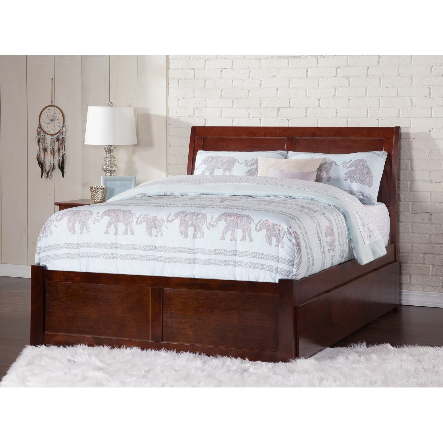 Shop Portland Walnut Brown Panel Full Size Bed With Trundle Bed