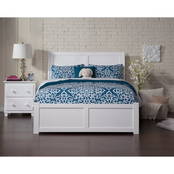 Atlantic Portland White Wood Panel Full Size Bed With