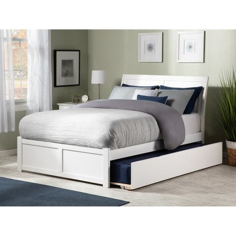 Portland Full Platform Bed with Flat Panel Foot Board and Twin Size Urban Trundle Bed in White