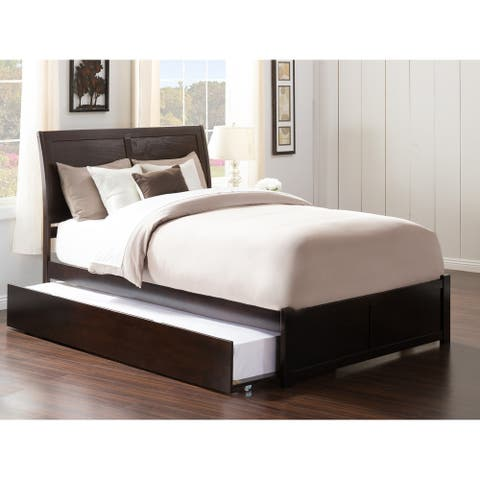 Portland Full Platform Bed with Flat Panel Foot Board and Twin Size Urban Trundle Bed in Espresso