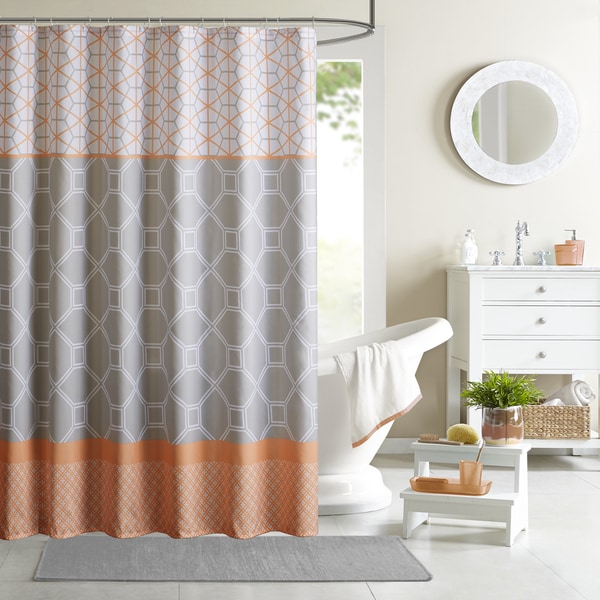 Intelligent design zara orange printed shower curtain - Intelligent shower ...