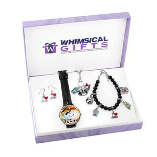 Music Lover Silver 4-piece Watch-Bracelet-Necklace-Earrings Jewelry Set
