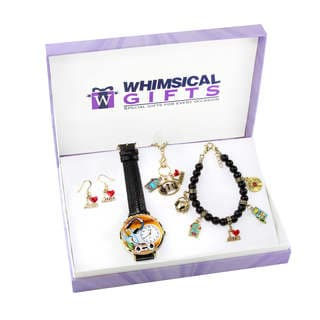Music Lover Gold 4-piece Watch-Bracelet-Necklace-Earrings Jewelry Set