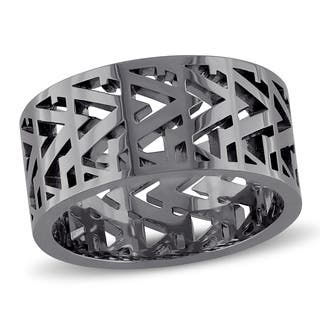 V1969 Italia Men's Openwork Ring in Black Rhodium Plated Sterling Silver|https://ak1.ostkcdn.com/images/products/12851775/P19615051.jpg?impolicy=medium