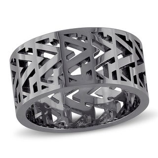 V1969 Italia Men's Openwork Ring in Black Rhodium Plated Sterling Silver