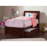 Portland Twin Platform Bed with Flat Panel Foot Board and 2 Urban Bed Drawers in Walnut