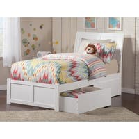 Portland Twin Platform Bed with Flat Panel Foot Board and 2 Urban Bed Drawers in White