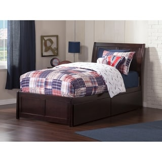 Portland Twin Platform Bed with Flat Panel Foot Board and 2 Urban Bed Drawers in Espresso