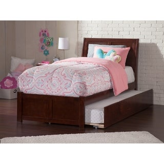 Portland Twin Platform Bed with Flat Panel Foot Board and Twin Size Urban Trundle Bed in Walnut