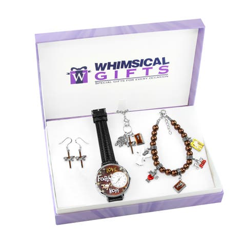 Religious Silver 4-piece Watch-Bracelet-Necklace-Earrings Jewelry Set