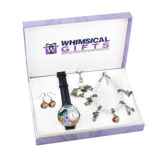 Summer Fun in the Sun Silver 4-piece Watch-Bracelet-Necklace-Earrings Jewelry Set