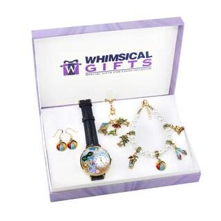 Summer Fun in the Sun Gold 4-piece Watch-Bracelet-Necklace-Earrings Jewelry Set