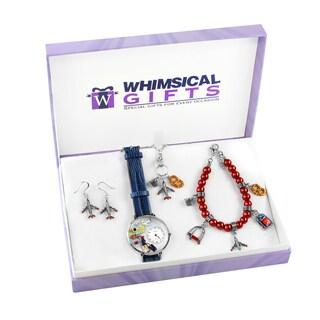 Flight Attendant Silver 4-piece Watch-Bracelet-Necklace-Earrings Jewelry Set