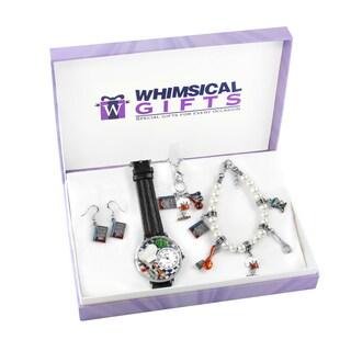 Chef Silver 4-piece Watch-Bracelet-Necklace-Earrings Jewelry Set