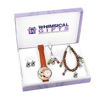 Artist Silver 4-piece Watch-Bracelet-Necklace-Earrings Jewelry Set