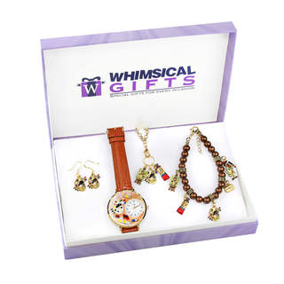 Artist Gold 4-piece Watch-Bracelet-Necklace-Earrings Jewelry Set
