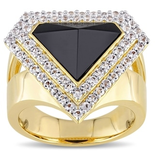 V19.69 Italia 18k Gold Plated Silver Black Agate and White Sapphire Ring
