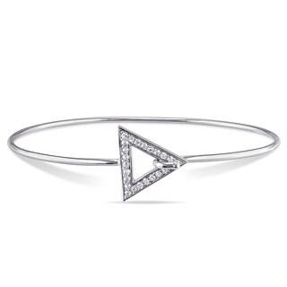 Sterling Silver White Sapphire Bangle Bracelet