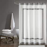 Madison Park Reed Cotton Duck Grey Shower Curtain