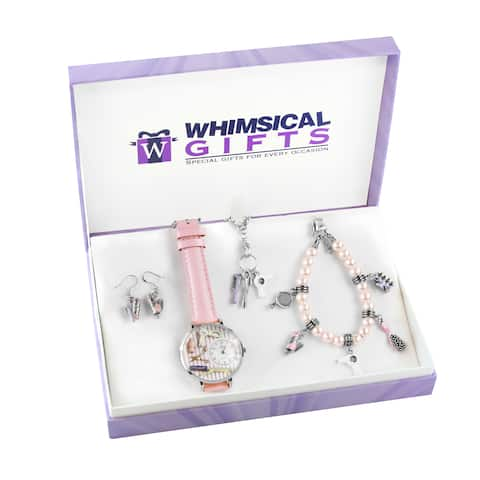 Beautician Silver 4-piece Watch-Bracelet-Necklace-Earrings Jewelry Set