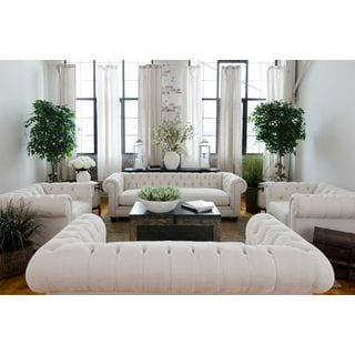 Elements Fine Home Furnishings Estate Seashell Upholstered Sofa, Love Seat, and 2 Standard Chairs