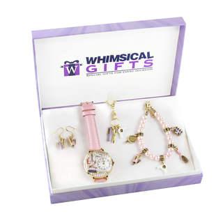 Beautician Gold 4-piece Watch-Bracelet-Necklace-Earrings Jewelry Set