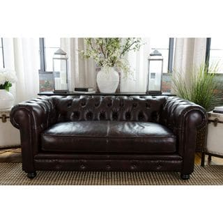 Estate Top Grain Leather Loveseat in Saddle