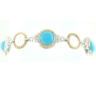 One-of-a-kind Michael Valitutti Sleeping Beauty Turquoise and White Sapphire Bracelet