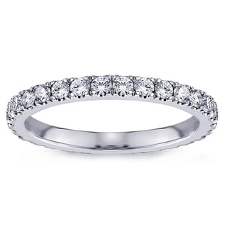 Platinum 3/4ct TDW Pave Set Diamond Eternity Wedding Band (G-H, SI1-SI2)