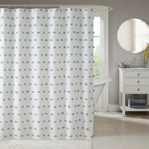 Madison Park Lauren Dusty Blue Shower Curtain