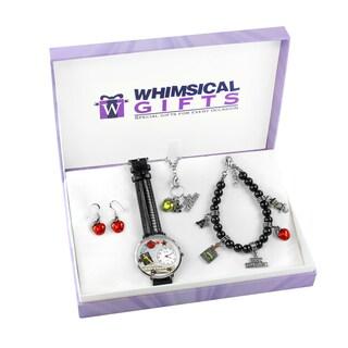 Teacher Silver 4-piece Watch-Bracelet-Necklace-Earrings Jewelry Set