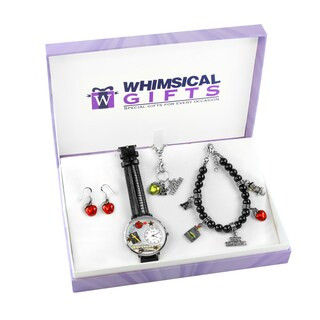 Teacher Silver 4-piece Watch-Bracelet-Necklace-Earrings Jewelry Set