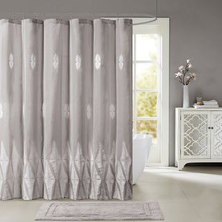 Madison Park Sabrina Shower Curtain With Embroidery 2-Color Option
