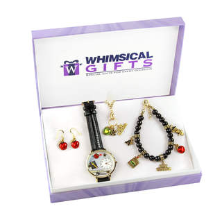 Teacher Gold 4-piece Watch-Bracelet-Necklace-Earrings Jewelry Set