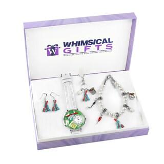 Dental Silver 4-piece Watch-Bracelet-Necklace-Earrings Jewelry Set