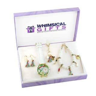 Dental Gold 4-piece Watch-Bracelet-Necklace-Earrings Jewelry Set