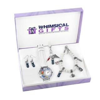 Nurse Silver 4-piece Watch-Bracelet-Necklace-Earrings Jewelry Set